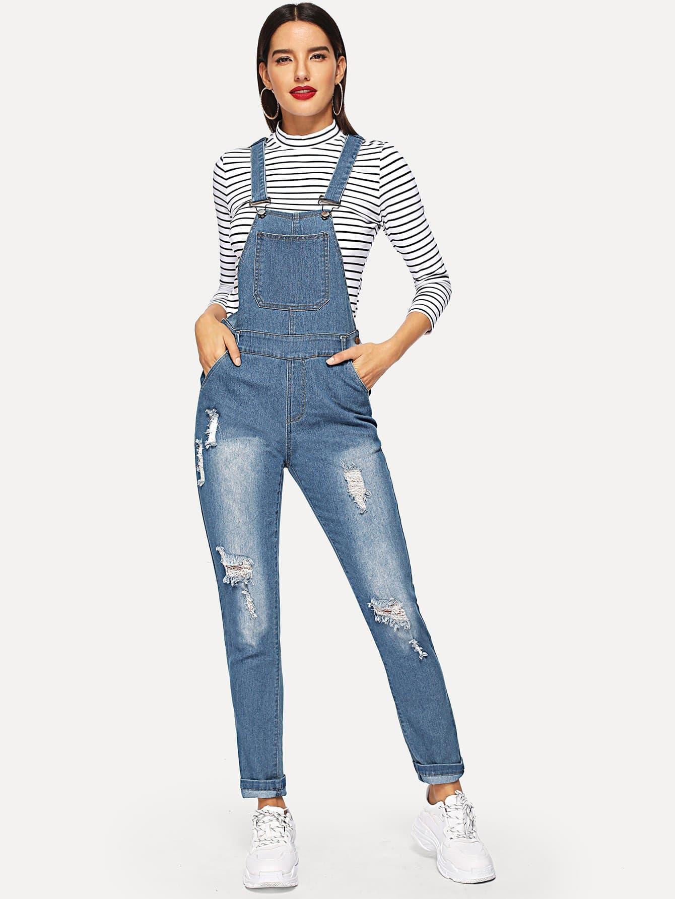 Купить Рваный джинсовый комбинезон с карманом, Juliana, SheIn