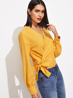 Knot Side Surplice Wrap Blouse