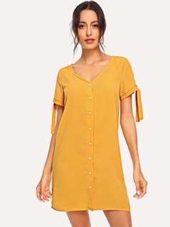 Button Front Knot Tunic V-Neck Dress
