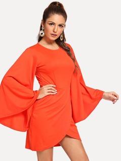 Neon Orange Bell Sleeve Overlap Hem Dress