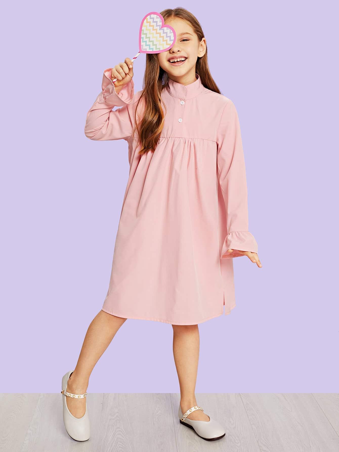 Фото - Платье с пуговицами с оборками для девочек от SheIn цвет розовые