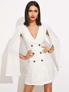 V Neck Double Button Dress