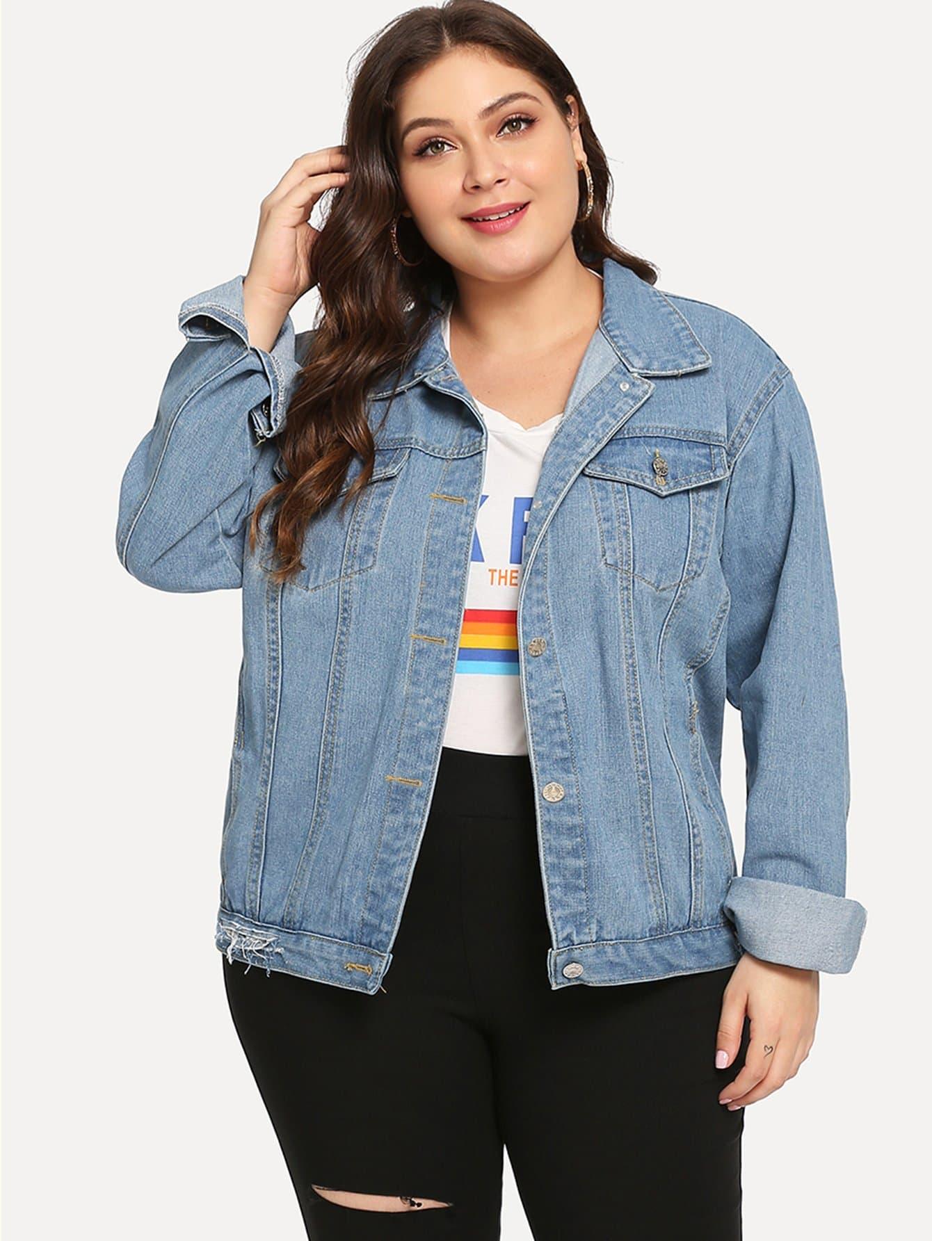 Купить Размера плюс рваная джинсовая ветровка, Carol, SheIn