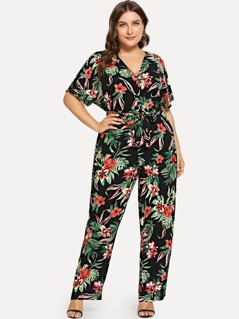 Plus Flower Print V-Neck Jumpsuit