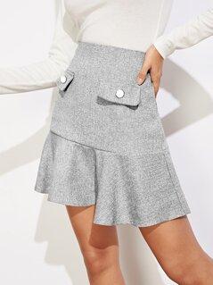 Marled Ruffle Hem Skirt