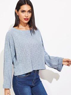 Drop Shoulder Rolled Hem Sweater