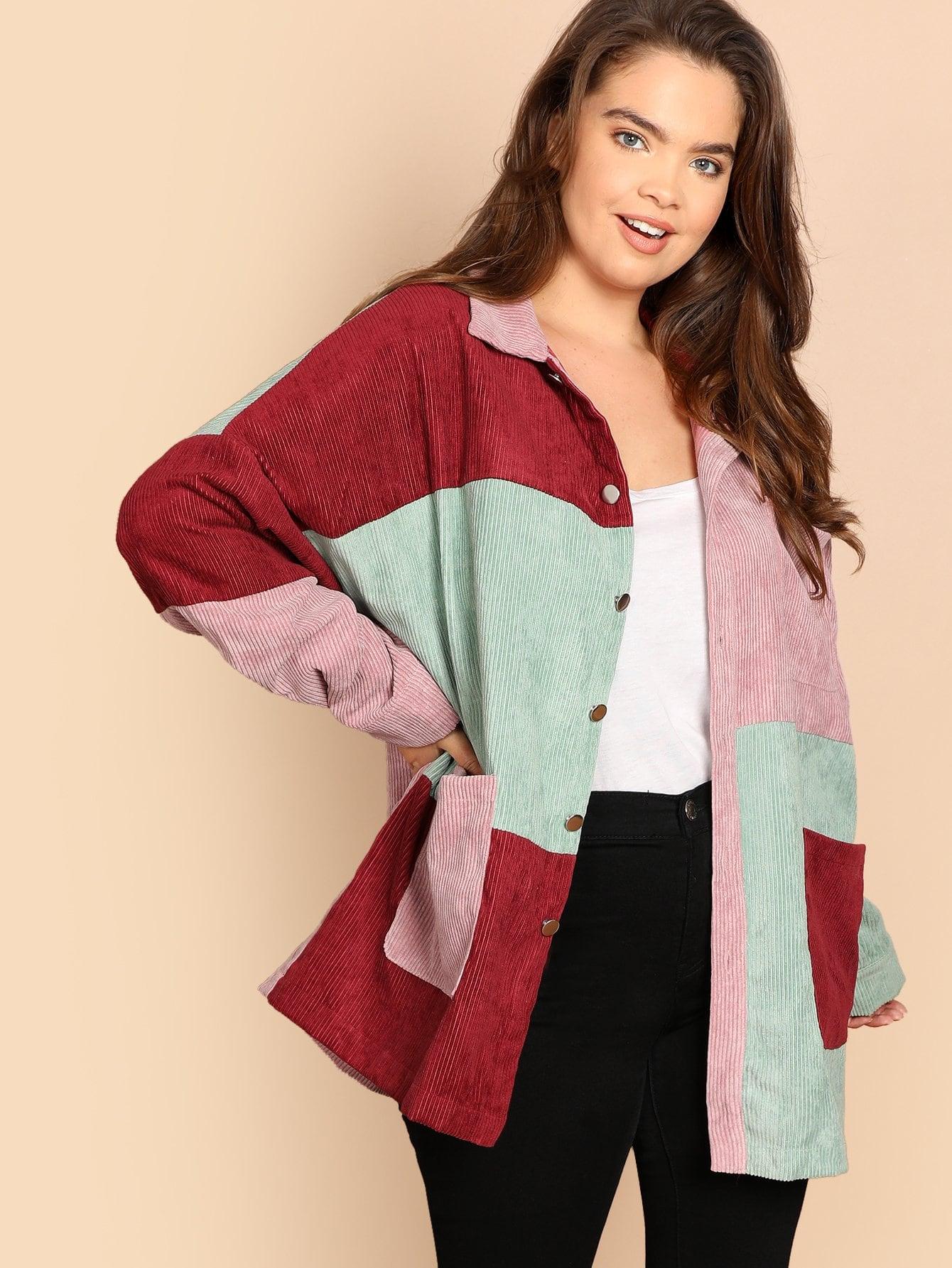 Купить Плюс размера контрастная вельветовая куртка с карманом, Faith Bowman, SheIn