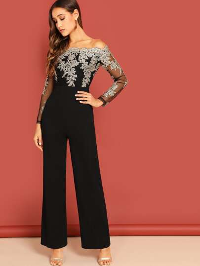 Off Shoulder Embroidered Mesh Panel Jumpsuit
