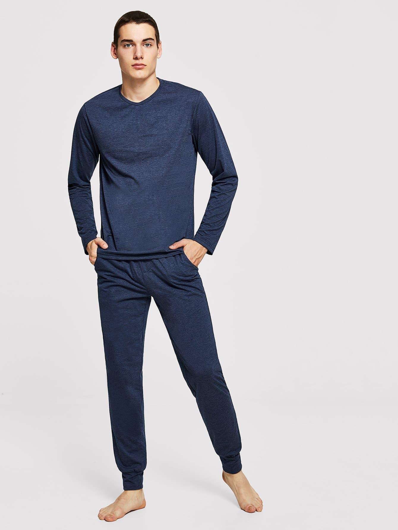 Фото - Для мужчин одноцветные туника пижамы комплект от SheIn цвет тёмно-синие