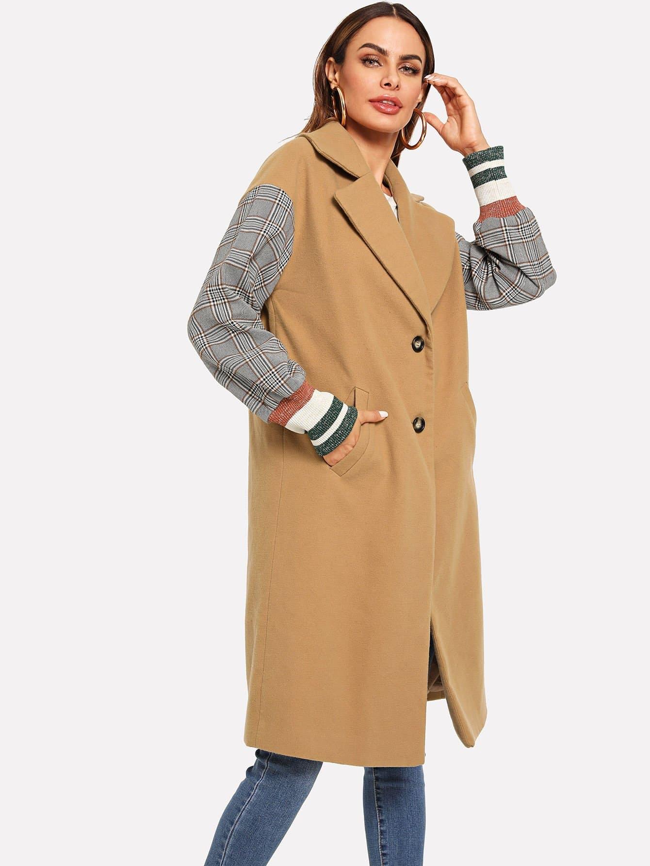 Однобортное симметрическое пальто и рукав в клетку SheIn
