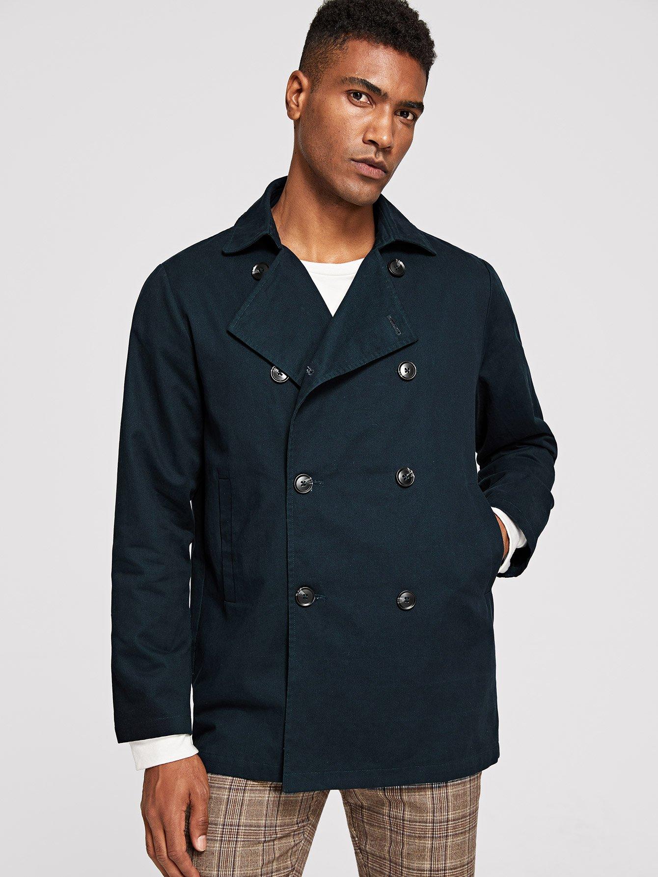 Купить Мужское контрастное пальто с украшением пуговицы, Johnn Silva, SheIn