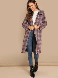 Raw Hem Tweed Coat