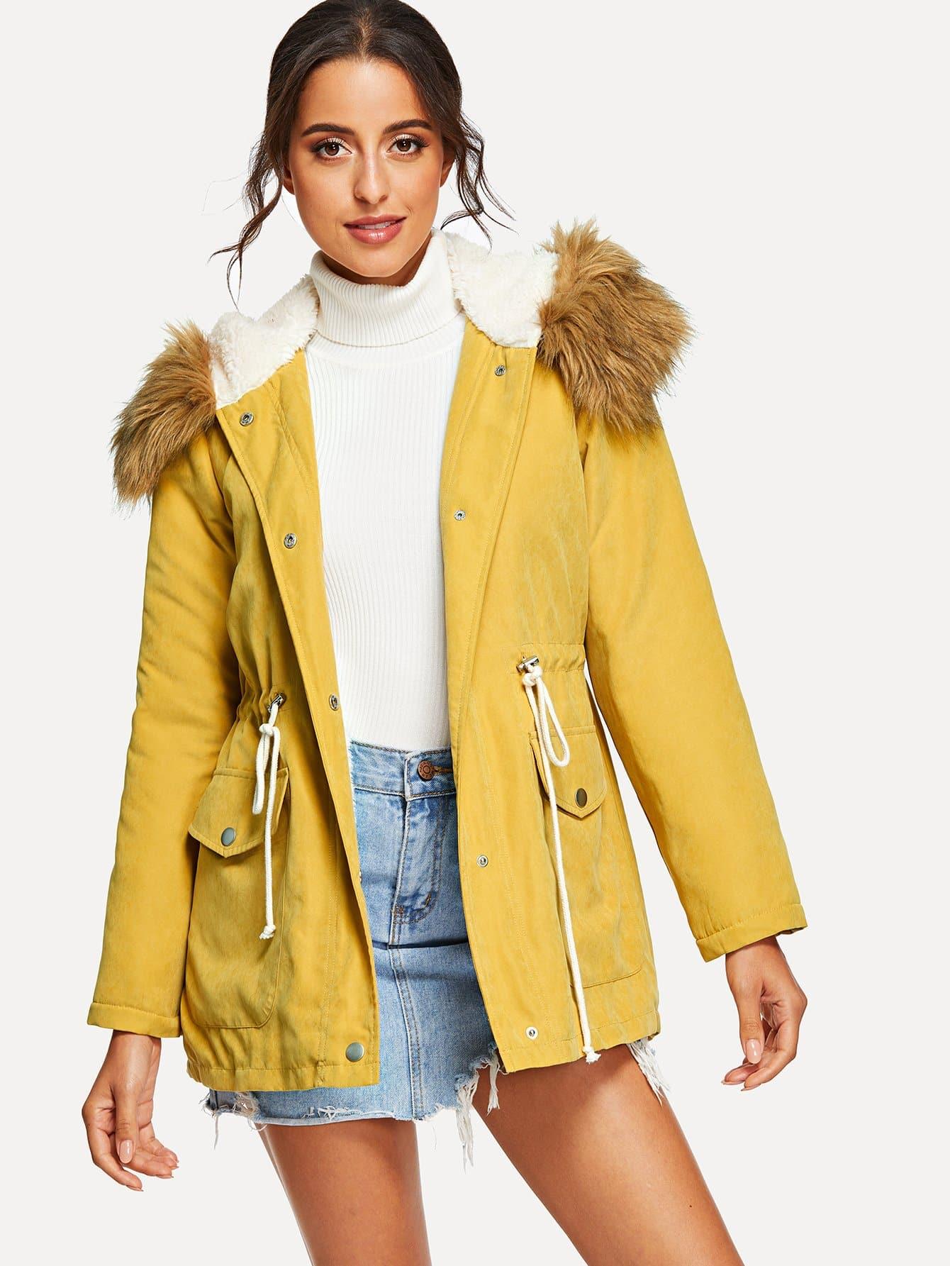 Купить Пальто с капюшоном на молнии с карманом, Mary P., SheIn
