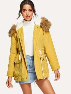 Zip Up Faux Fur Contrast Pocket Hoodie Parka Coat
