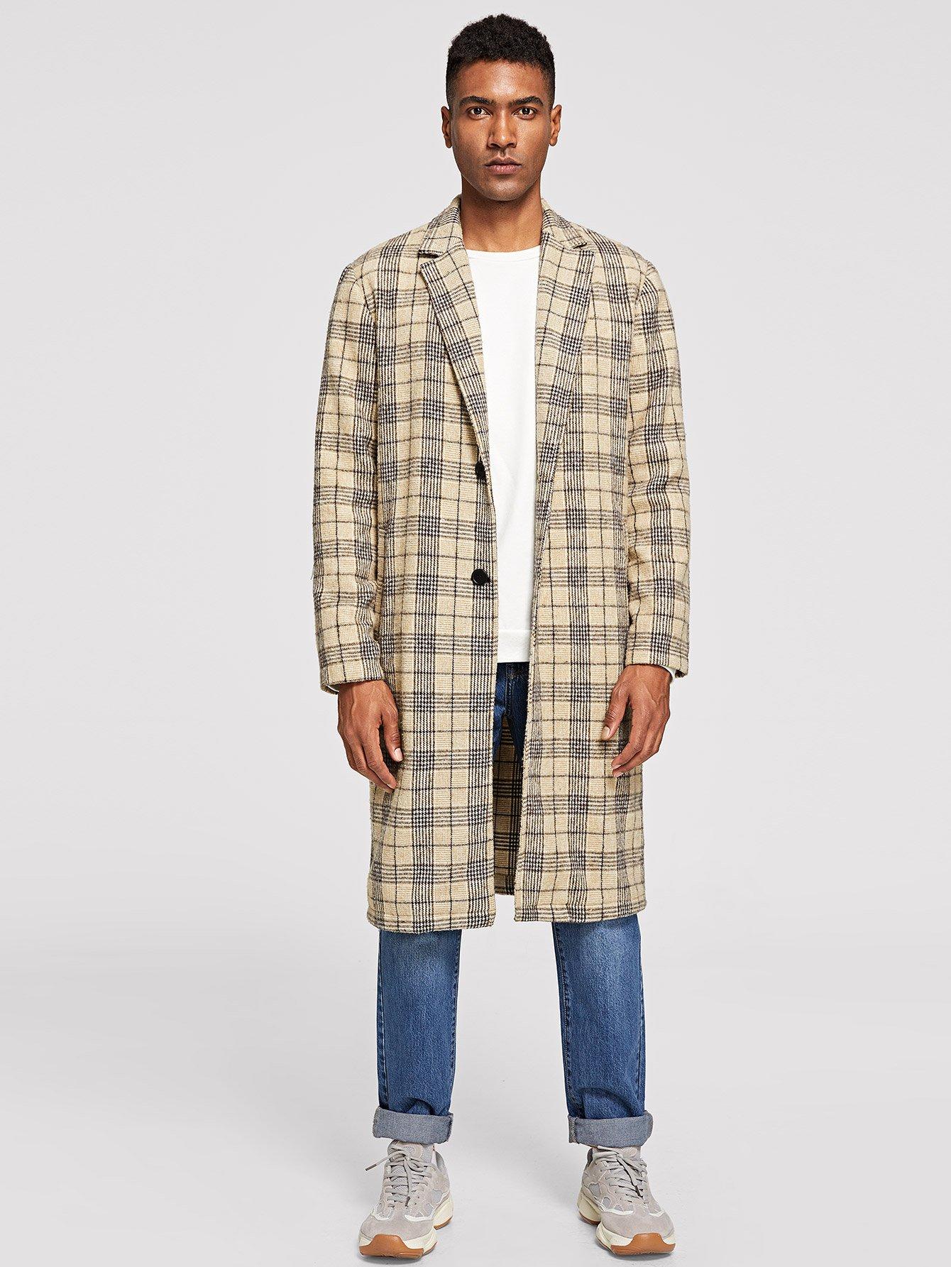 Купить Мужское пальто в клетку с зазубренным воротником и украшением пуговицы, Johnn Silva, SheIn