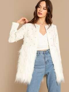 Pearl Embellished Contrast Coat