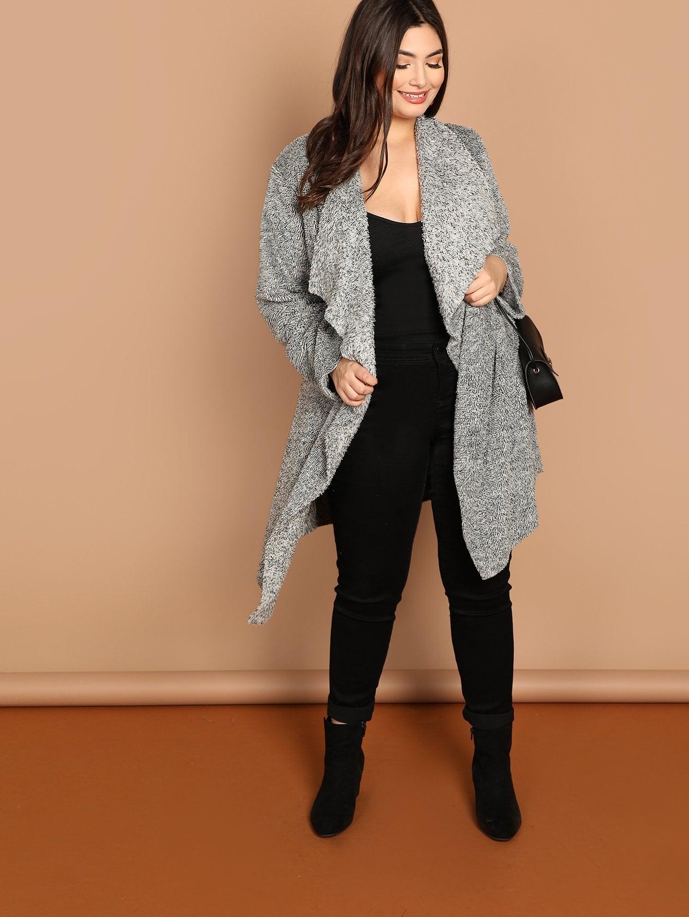 Фото - Плюс размера открытой передней пальто от SheIn цвет серые