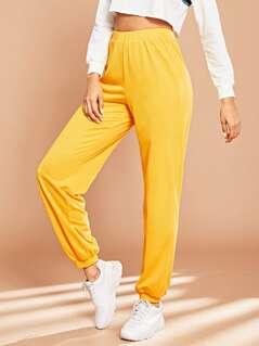 Elastic Waist Solid Pants
