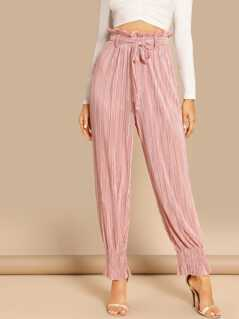 Tie Neck Frill Trim Pleated Pants