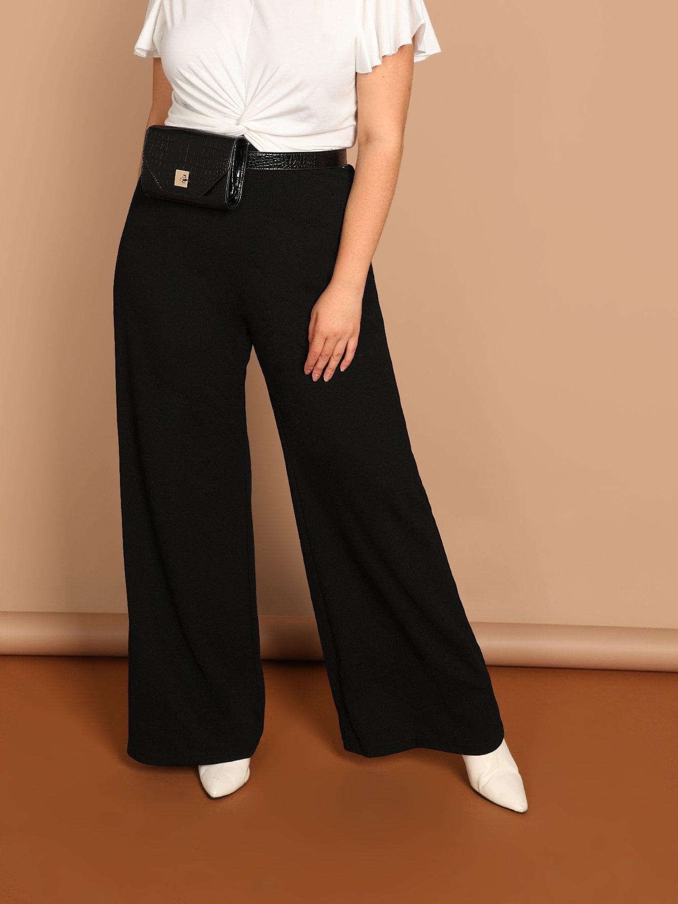 Фото - Размера плюс однотонные широкие брюки от SheIn цвет чёрные
