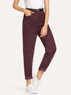 Solid Corduroy Pants Without Belt