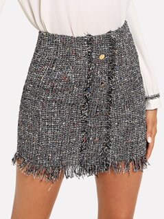 Button Front Frayed Tweed Skirt