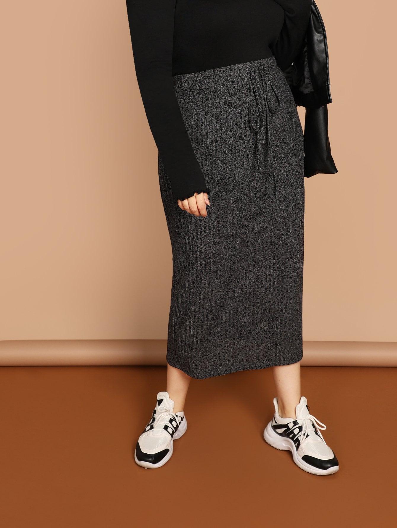 Фото - Плюс размера вязанная юбка с кулиской от SheIn цвет серые