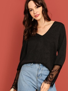 V Neck Lace Cuff Solid Tee