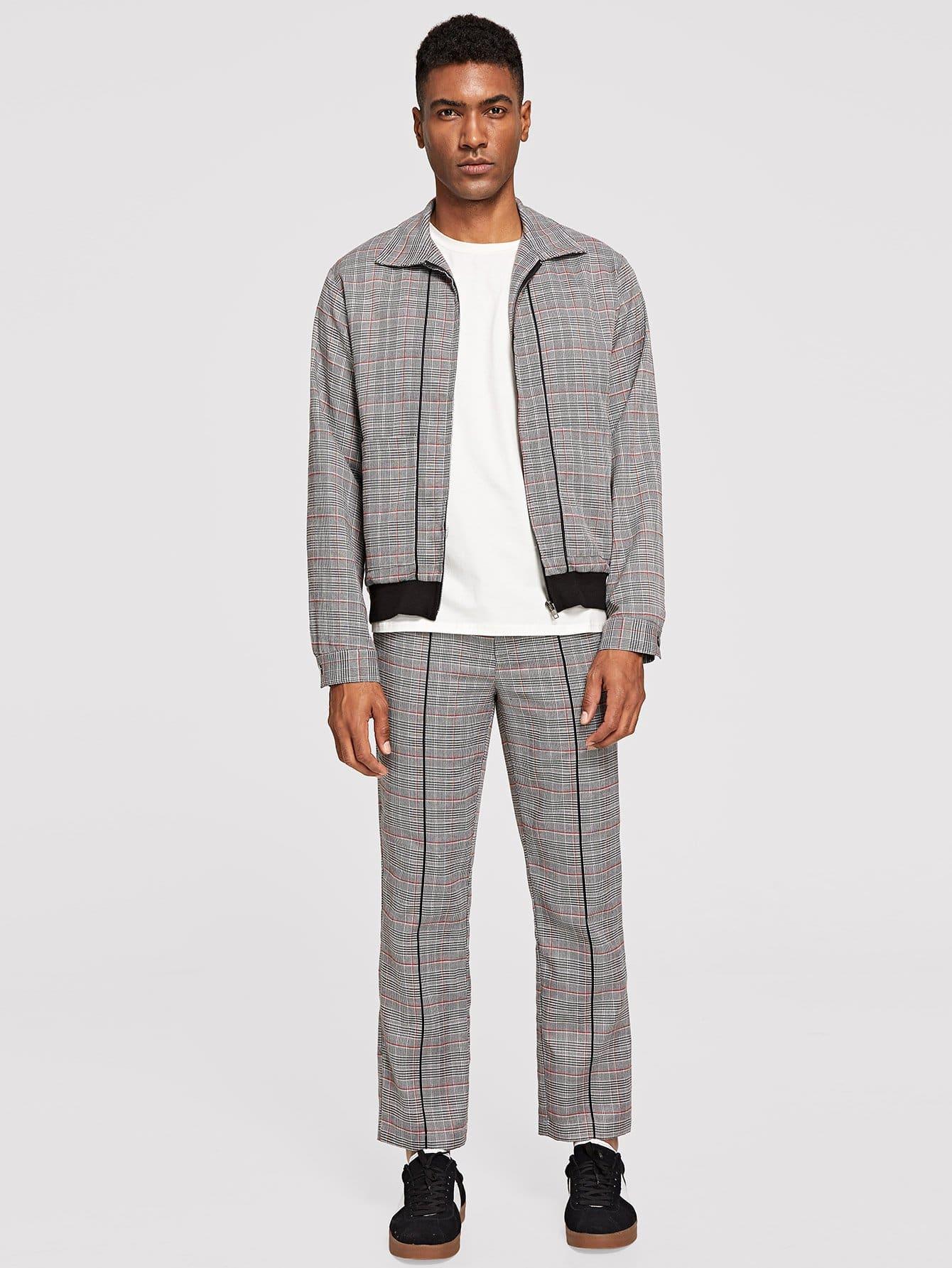Купить Мужское пальто в клетку с застёжкой молния и брюки, Johnn Silva, SheIn