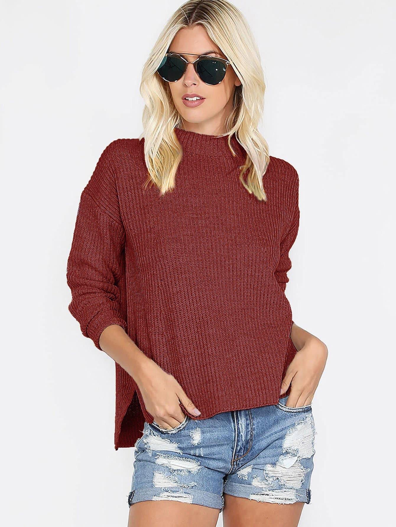 Купить Однотонный свитер с полосатым низом, Abigail Plunk, SheIn