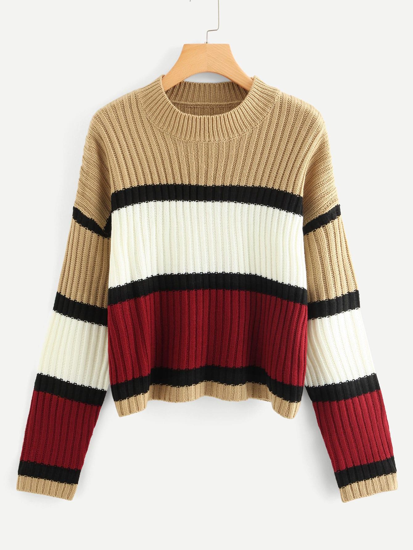 Купить Контрастный вязаный свитер размера плюс, null, SheIn