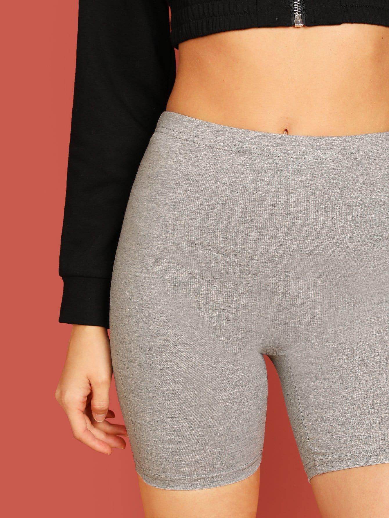 SHEIN / Shorts Leggings sólidos de cintura alta
