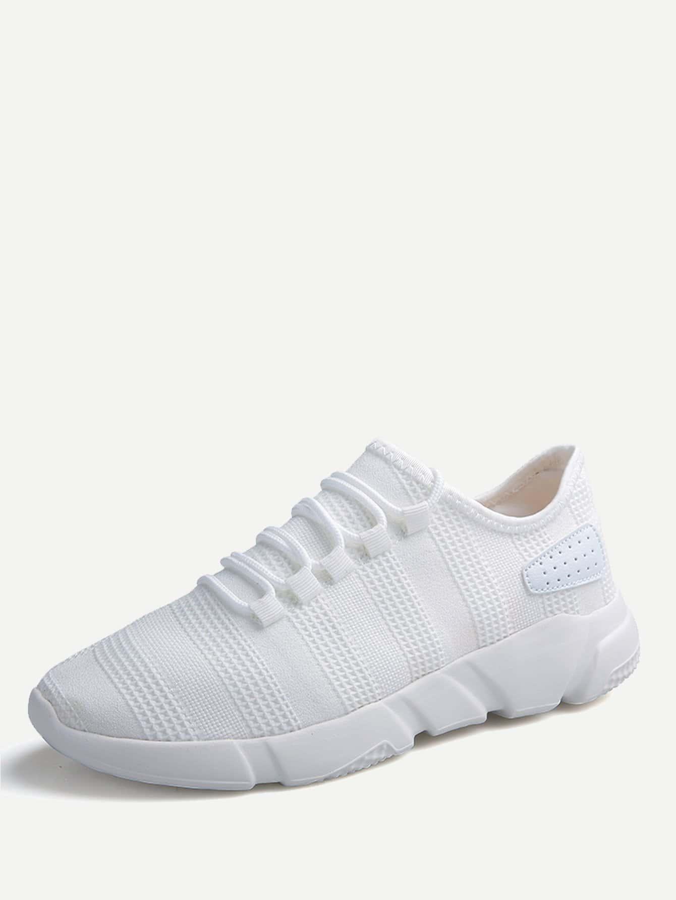 Фото - Мужские вязаные спортивные туфли с шнурками от SheIn белого цвета