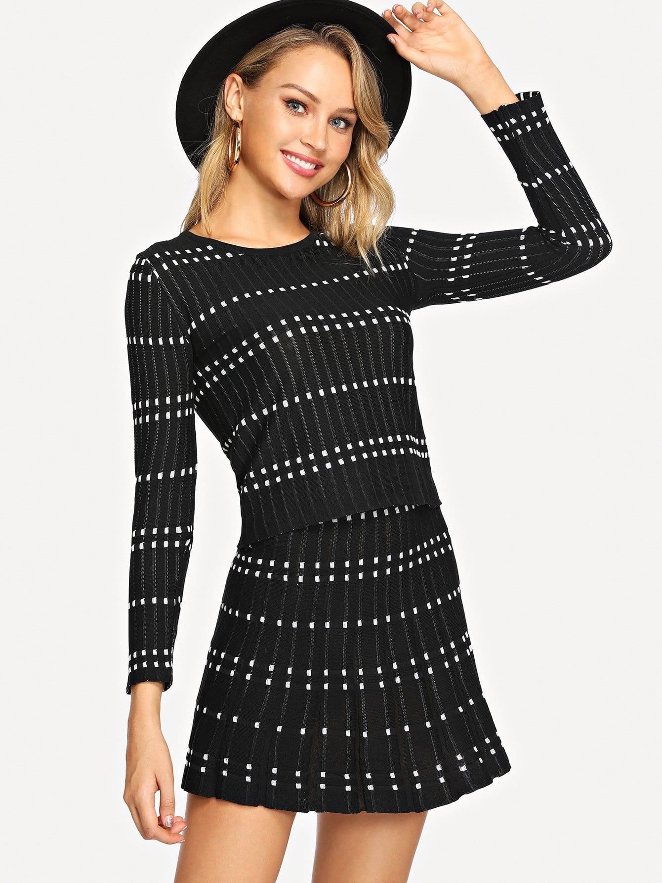Купить Приталенная вязаная блуза с графическим принтом и юбка, Sasa, SheIn