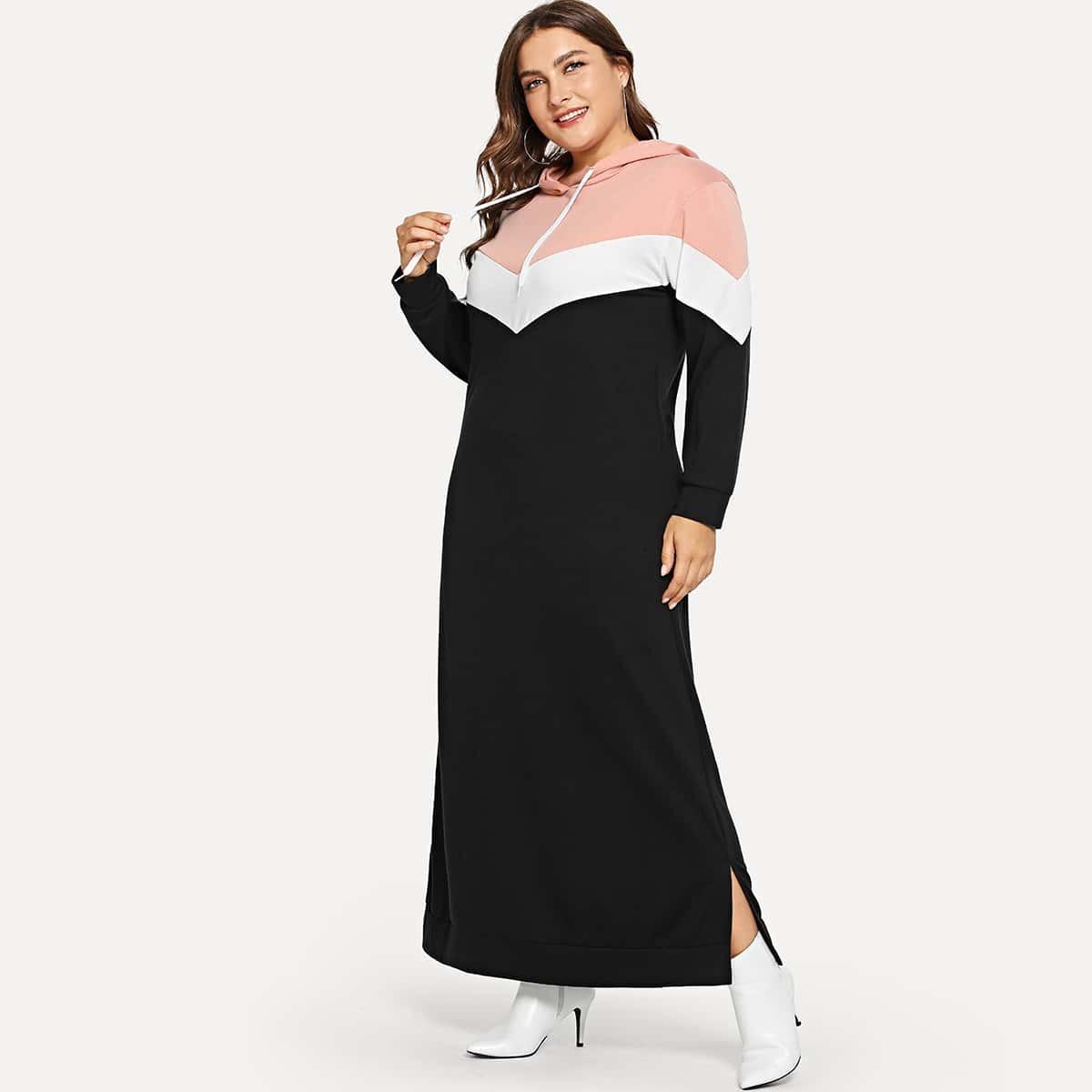 Zwart Casual Gestreept Grote maten jurken Kleurblok