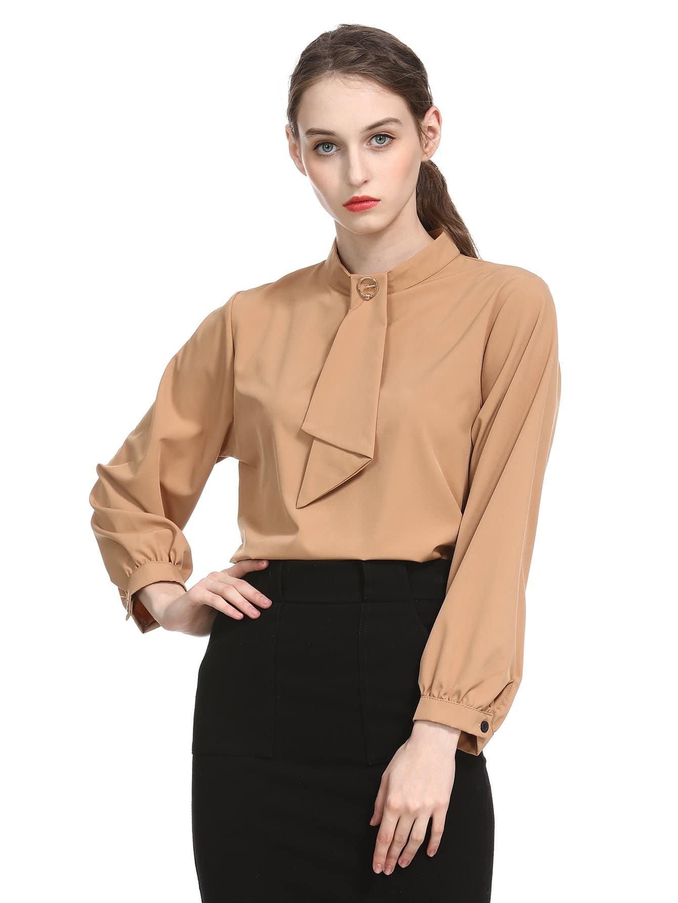 Купить Блуза с рукавами, присборенный у манжета, null, SheIn