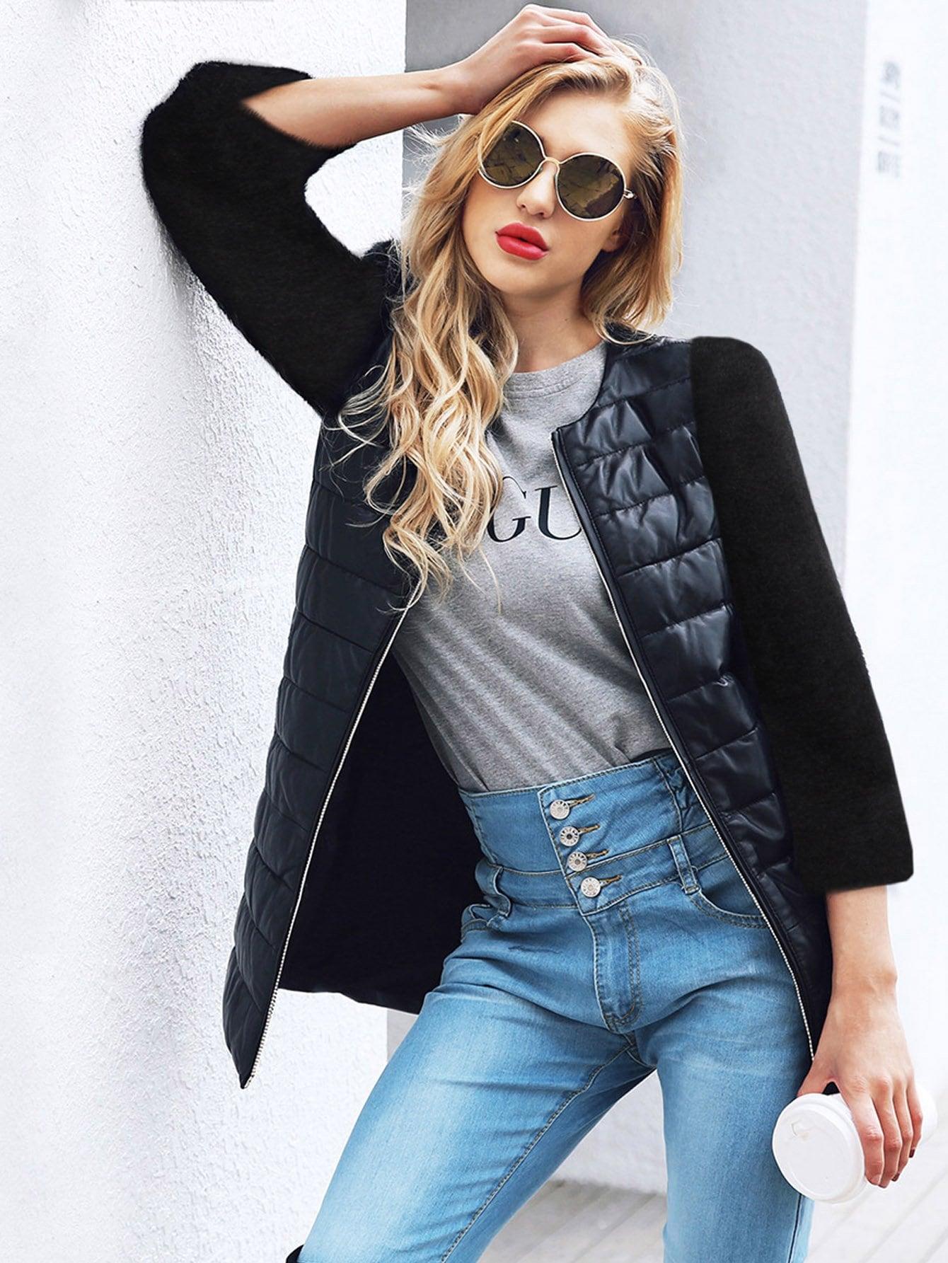 Купить Простое контрастное пальто Pu, null, SheIn