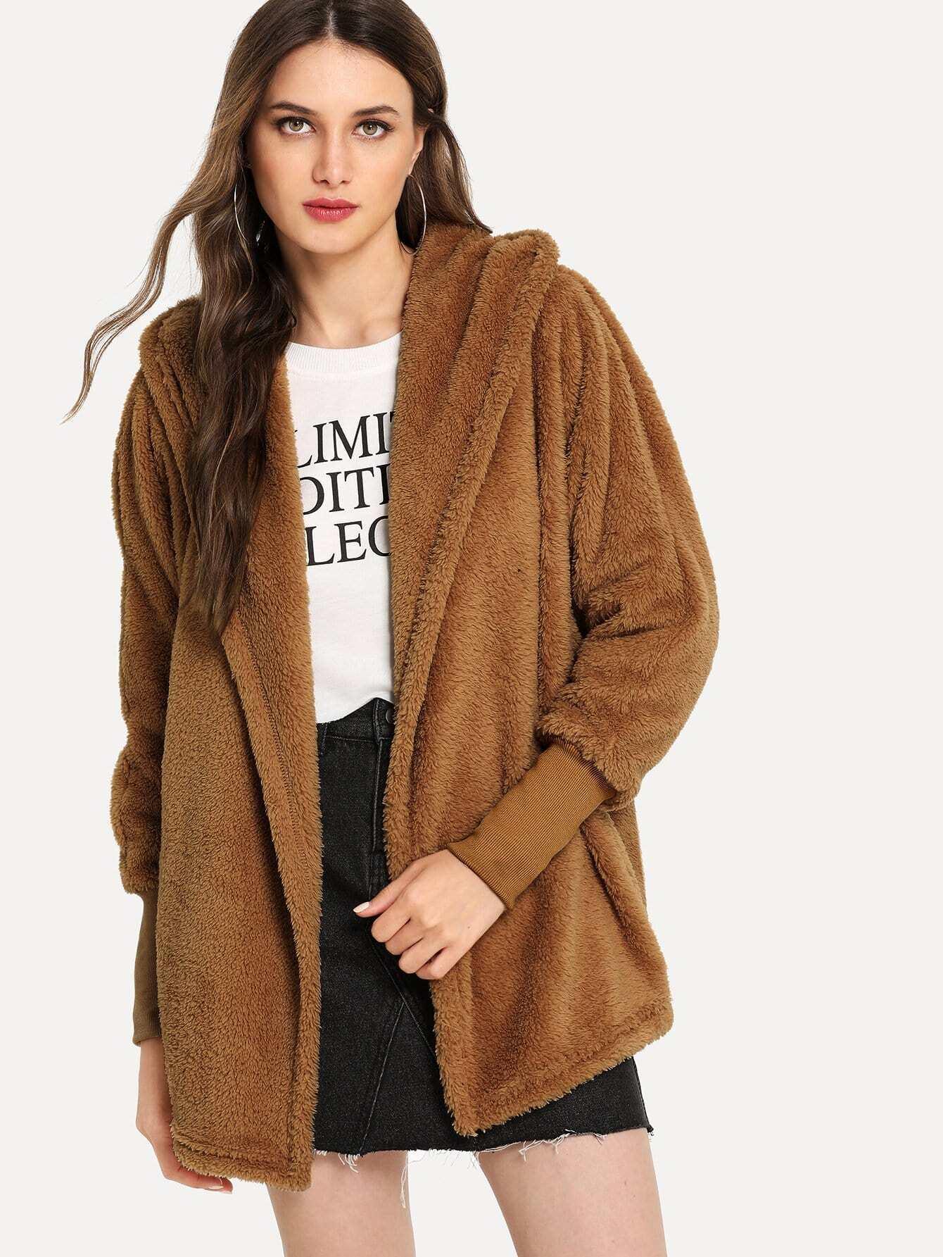 Однотонное пушистое пальто с капюшоном, Tatiana, SheIn  - купить со скидкой
