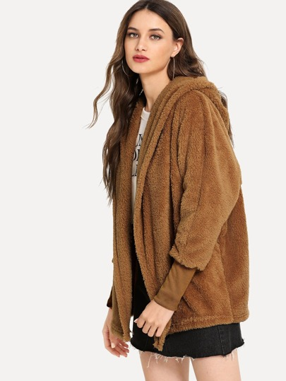 SheIn / Open Front Solid Hooded Teddy Coat