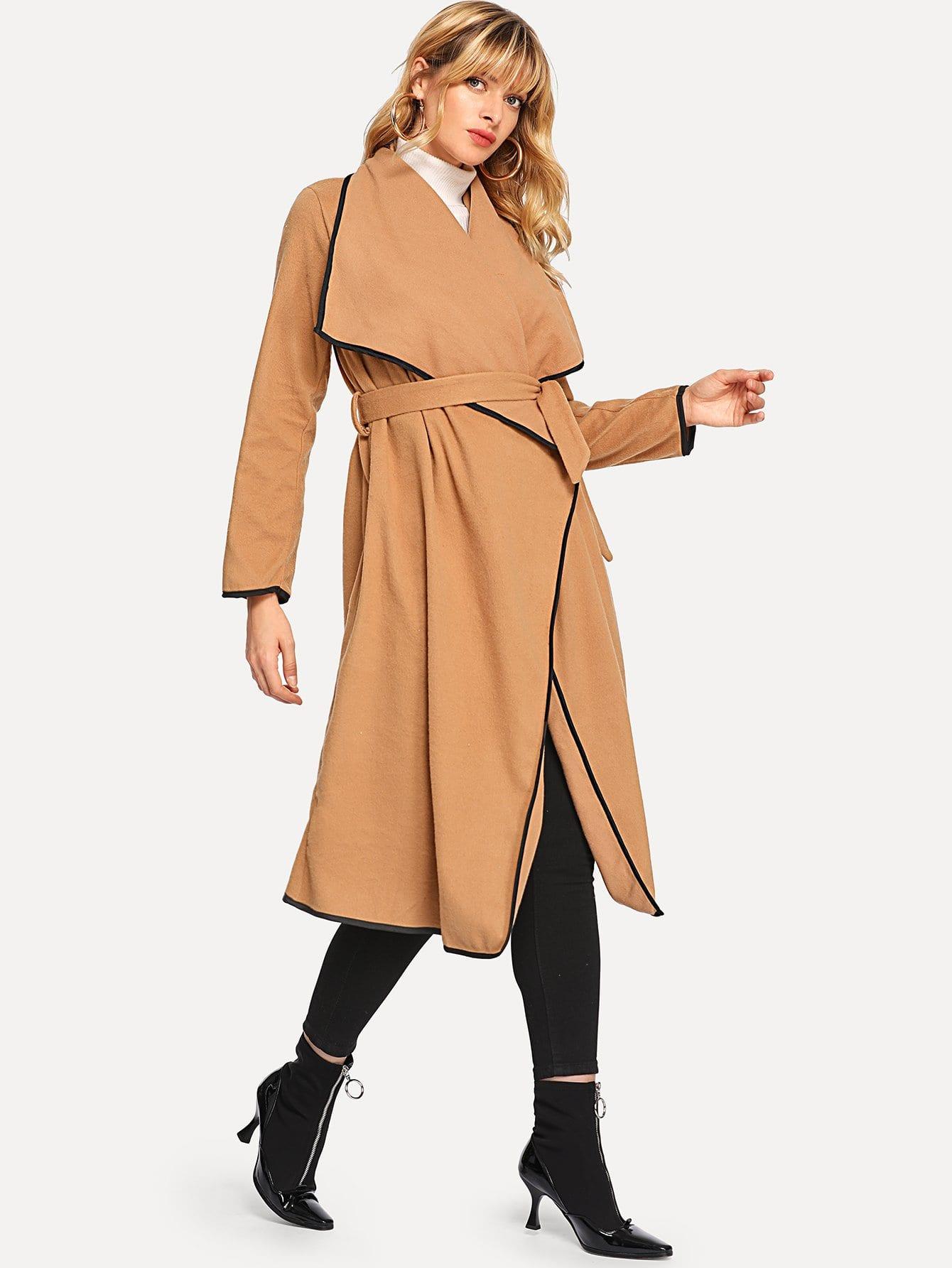 Купить Повседневный стиль с поясом пальто с запахом Желтовато бурый Пальто, Masha, SheIn