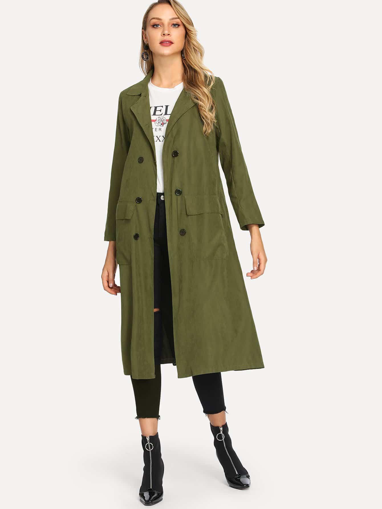 Купить Повседневный стиль Одноцветный на пуговицах пальто Цвета хаки Пальто, Sasa, SheIn