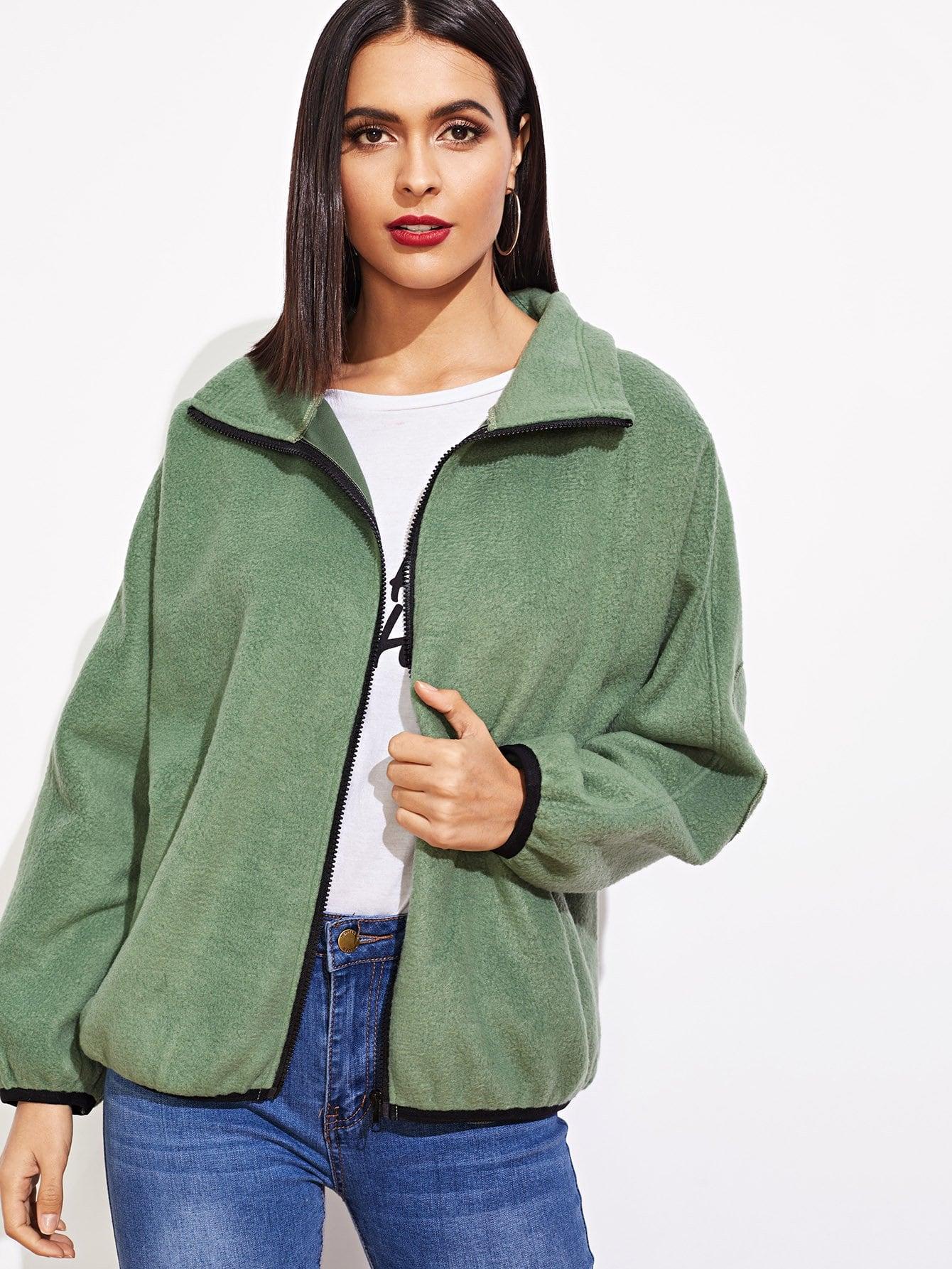 Купить Повседневный Одноцветный на молнии Зеленый Жакеты + Куртки, Verob, SheIn