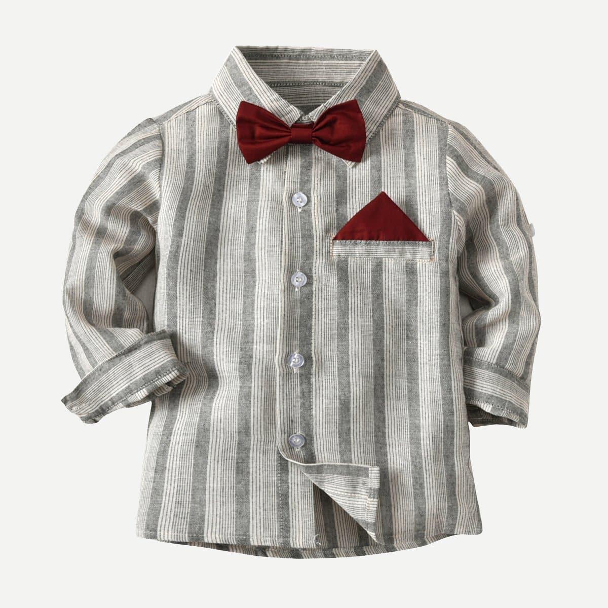 Полосатая футболка с воротник-бантом для маленьких мальчиков от SHEIN