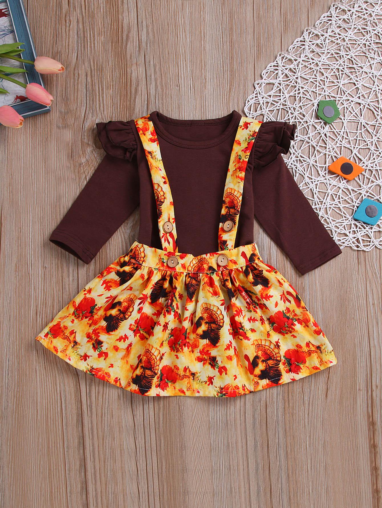 Купить Блуза с кружевными оборками и передник с принтом цветочным для маленьких девочек, null, SheIn