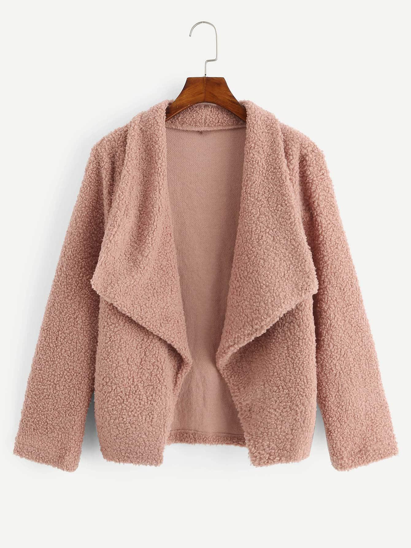 Купить Однотонное пальто тедди с воротником до плеч, null, SheIn