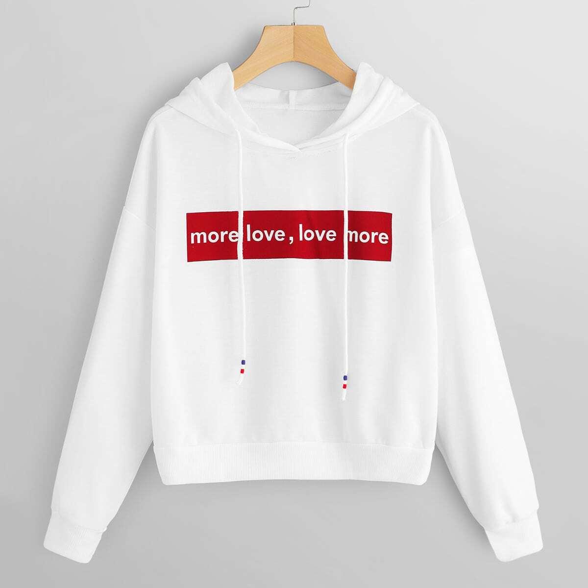 Wit Casual Tekst Sweater Koord