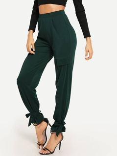 Ruffle Detail Knot Solid Pants