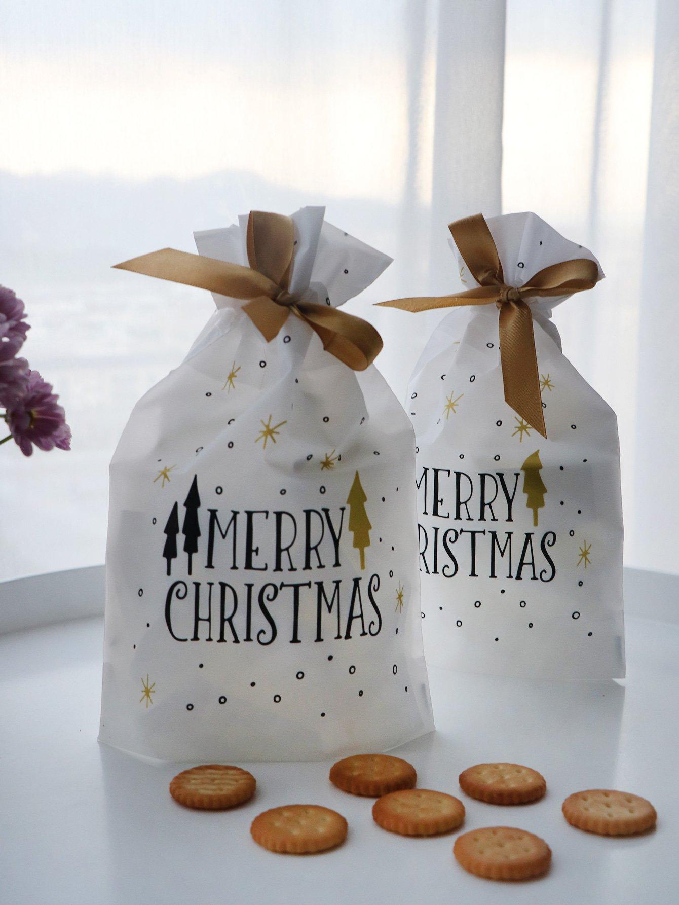 Купить Рождественский мешок с текстыми принтом 10шт., null, SheIn