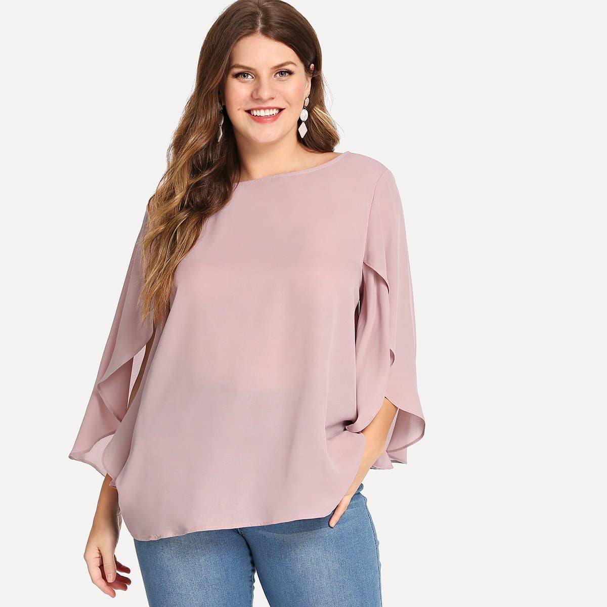 Плюс размеры блузка с рукавом разделения