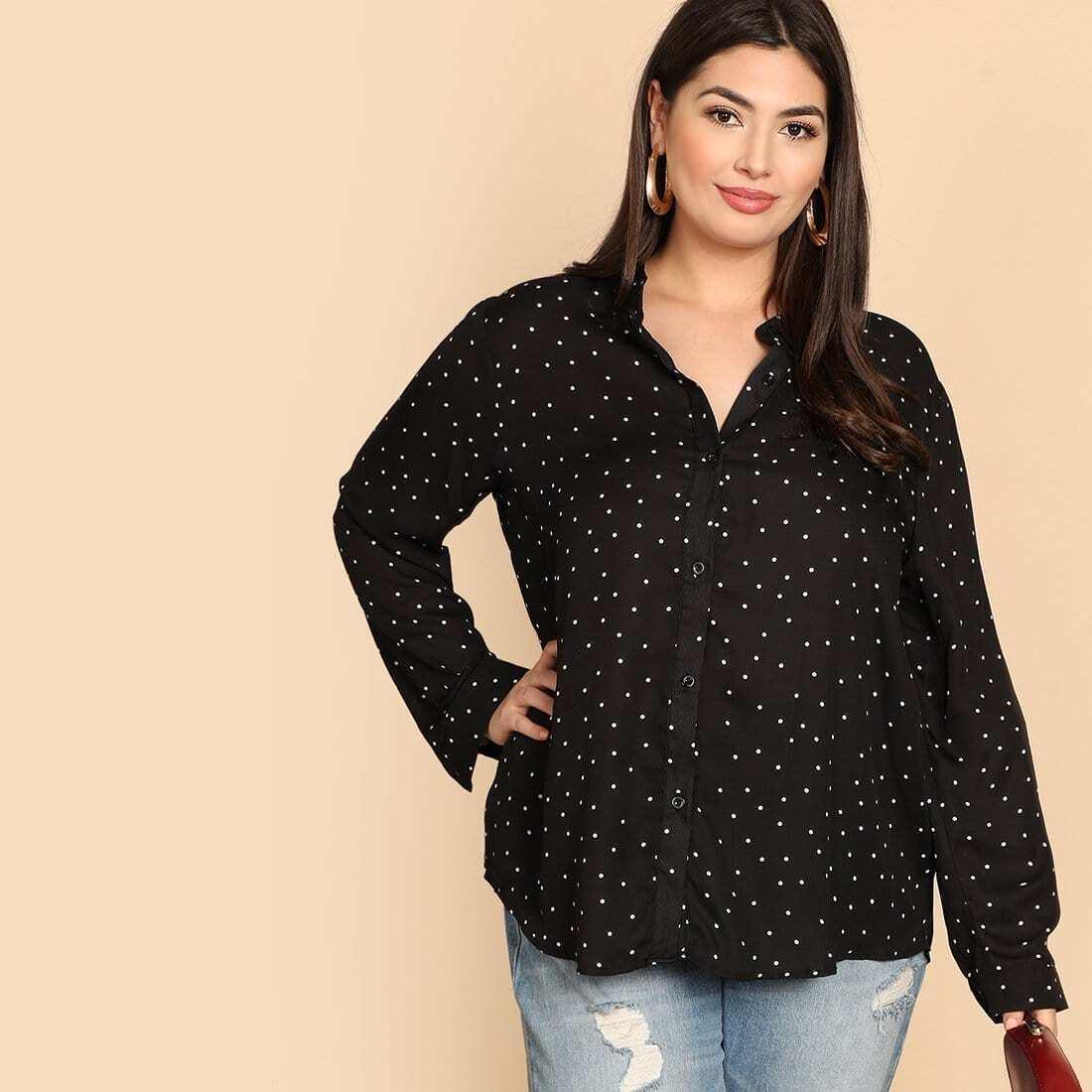 Zwart & wit Op de werkvloer Stippen Grote maten blouses Knoop